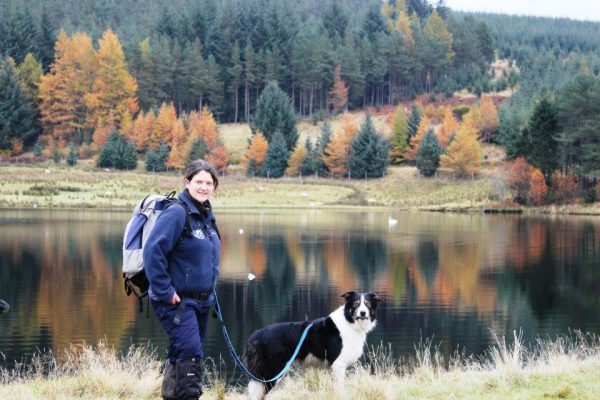 Daniele Muir and dog Corrie on an autumn walk in Perth