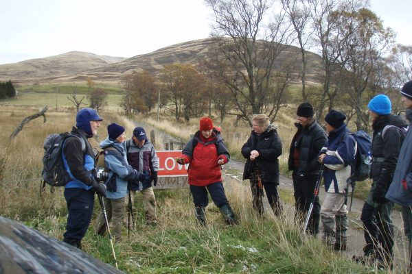 Daniele Muir talking to a group on a guided walk through Perthshire